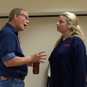 Peter Nerad and Gina Palmer at a recent rehearsal.