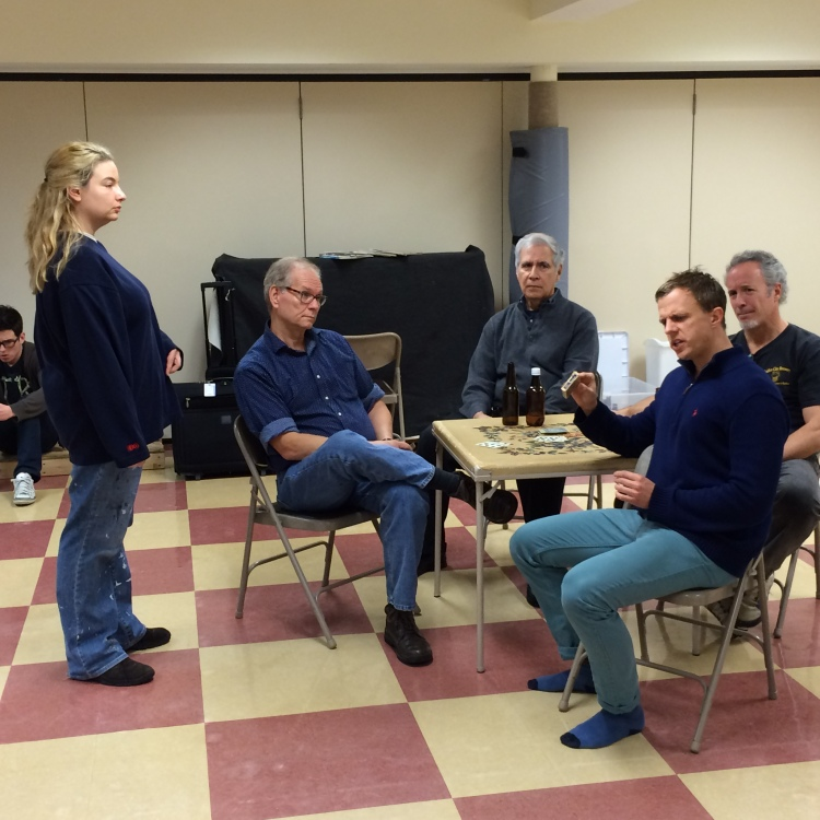 The cast of Boys in the Basement at a recent rehearsal.
