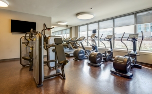 A 24/7 gym is just one of many amenities.