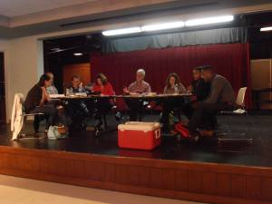 2nd Act Players and friends workshopping The Institute on their new stage.