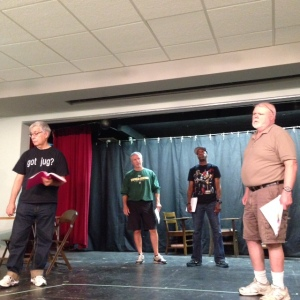 Rehearsals are underway for The Institute. On stage, from left to right...John N. Frank, Chris Johnson, Matt Lloyd, Scott Stockman.