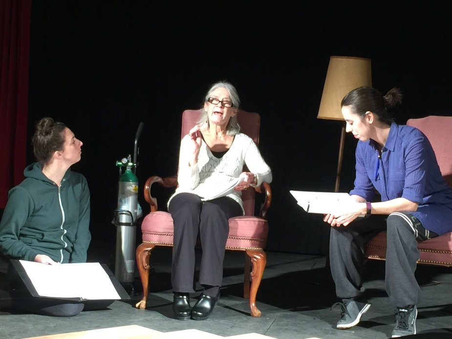 """Rehearsals are underway for """"Last Days of Wonder."""" Pictured are Becca Russo, Julie Mitre and Christine O'Keefe"""